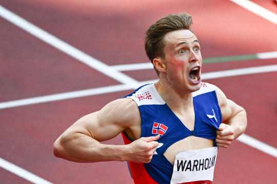 Karsten WARHOLM of Norway celebrates as he won the 400m hurdles with a new world record during the Day Five at Olympic Stadium on August 3, 2021 in Tokyo, Japan.