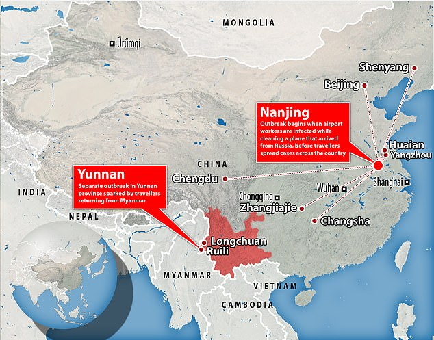 China has been hit by what state media are calling the 'most extensive Covid outbreak since Wuhan' after cases of the Delta variant escaped border quarantine in Yunnan and an outbreak emerged at an airport in Nanjing
