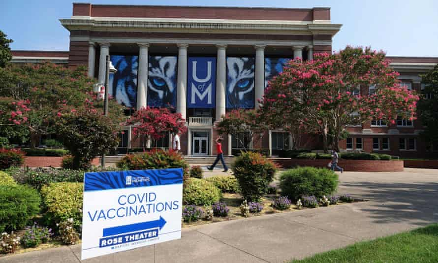 A Covid vaccination site at the University of Memphis
