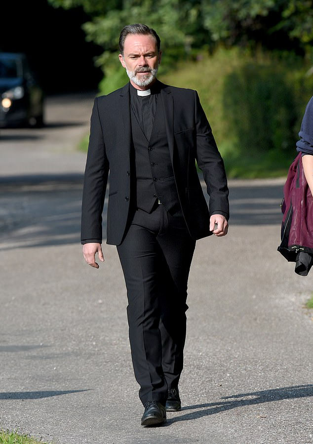 Cast:Also shooting funeral scenes mid-week was Billy Mayhew who was wearing his priest's collar