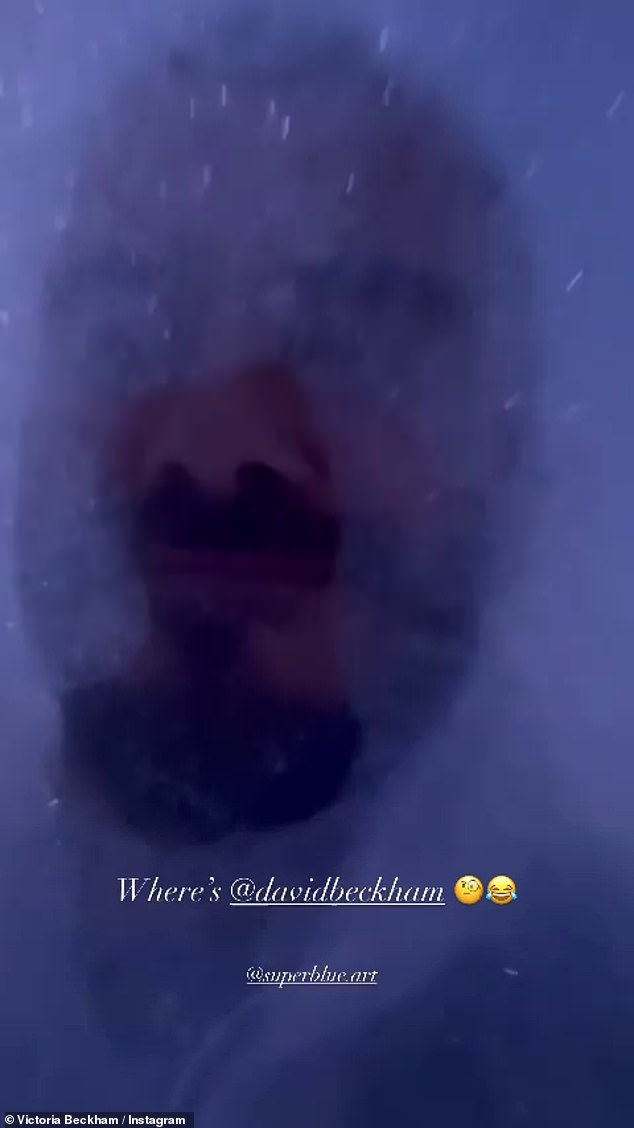 In his own world:David appeared to be having a whale of a time as he was filmed emerging from the bubbles which had completely immersed his face