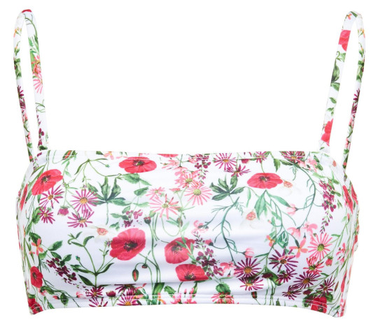 Pink floral bandeau bikini