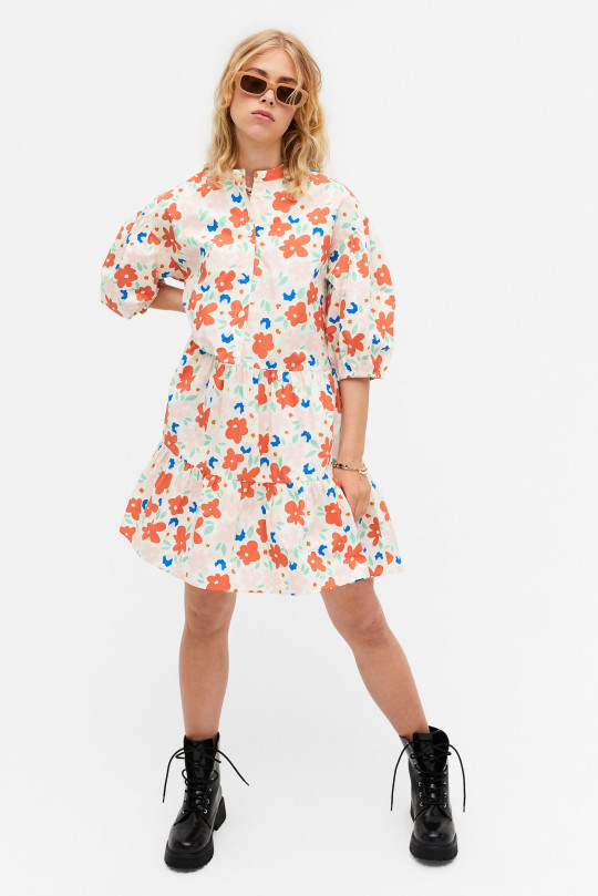 Oversized floral print baby doll dress