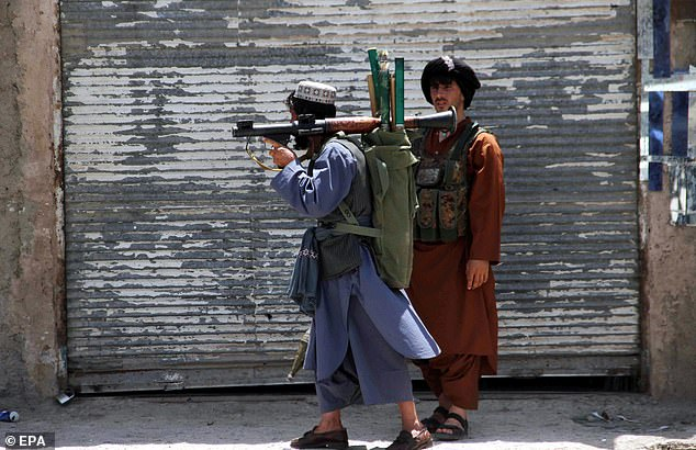 Those executed include police, tribal elders, religious scholars, government supporters and even a popular comedian, the chief claimed (pictured, government troops in Kandahar city)