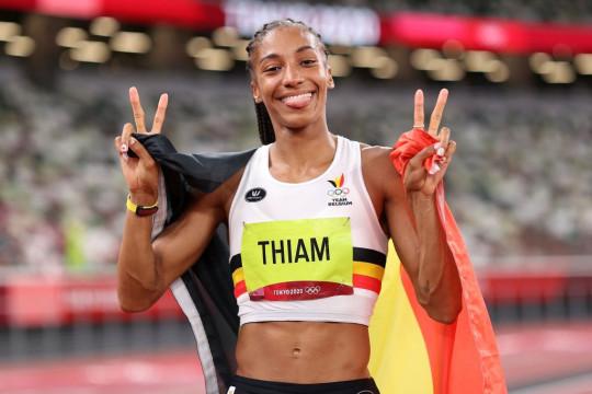 Nafi Thiam celebrates her heptathlon gold at Tokyo 2020
