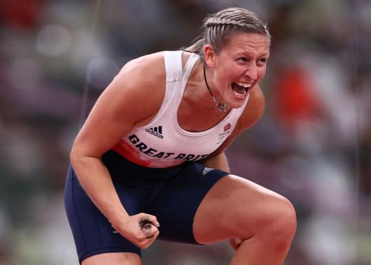 Team GB's Holly Bradshaw celebrates bronze at Tokyo Olympics