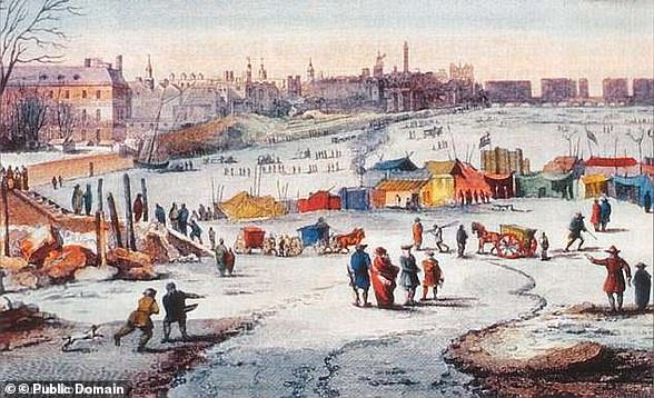 The Little Ice Age, a centuries-long cold period that lasted until about 1850. Experts believe that as the North Atlantic began to warm near the end of the Little Ice Age, freshwater disrupted the system. Pictured is Thames Frost Fair, 1683–84, by Thomas Wyke