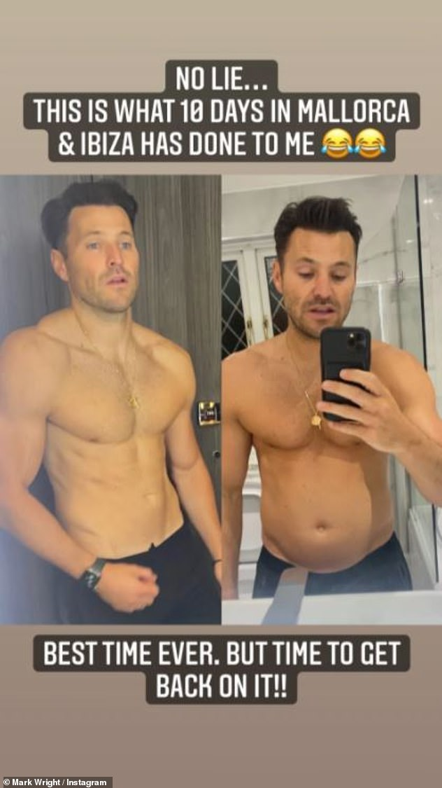 What a difference:Mark showed off a fuller figure on Instagram as he shared a snap of his reverse body transformation following his Mallorca holiday