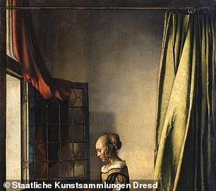 This lost portrait-within-a-portrait ¿ which was a common feature in Vermeer's interior scenes ¿ was first revealed in X-ray scans of the painting back in 1979. Experts at Dresden's Gemäldegalerie Alte Meister ('Old Masters Gallery') determined that the overpainting (as pictured) was not conducted by Vermeer's hand.