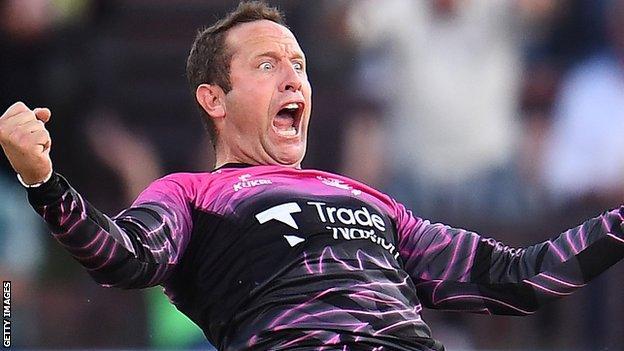 Roelof van der Merwe celebrates dismissing Liam Livingstone