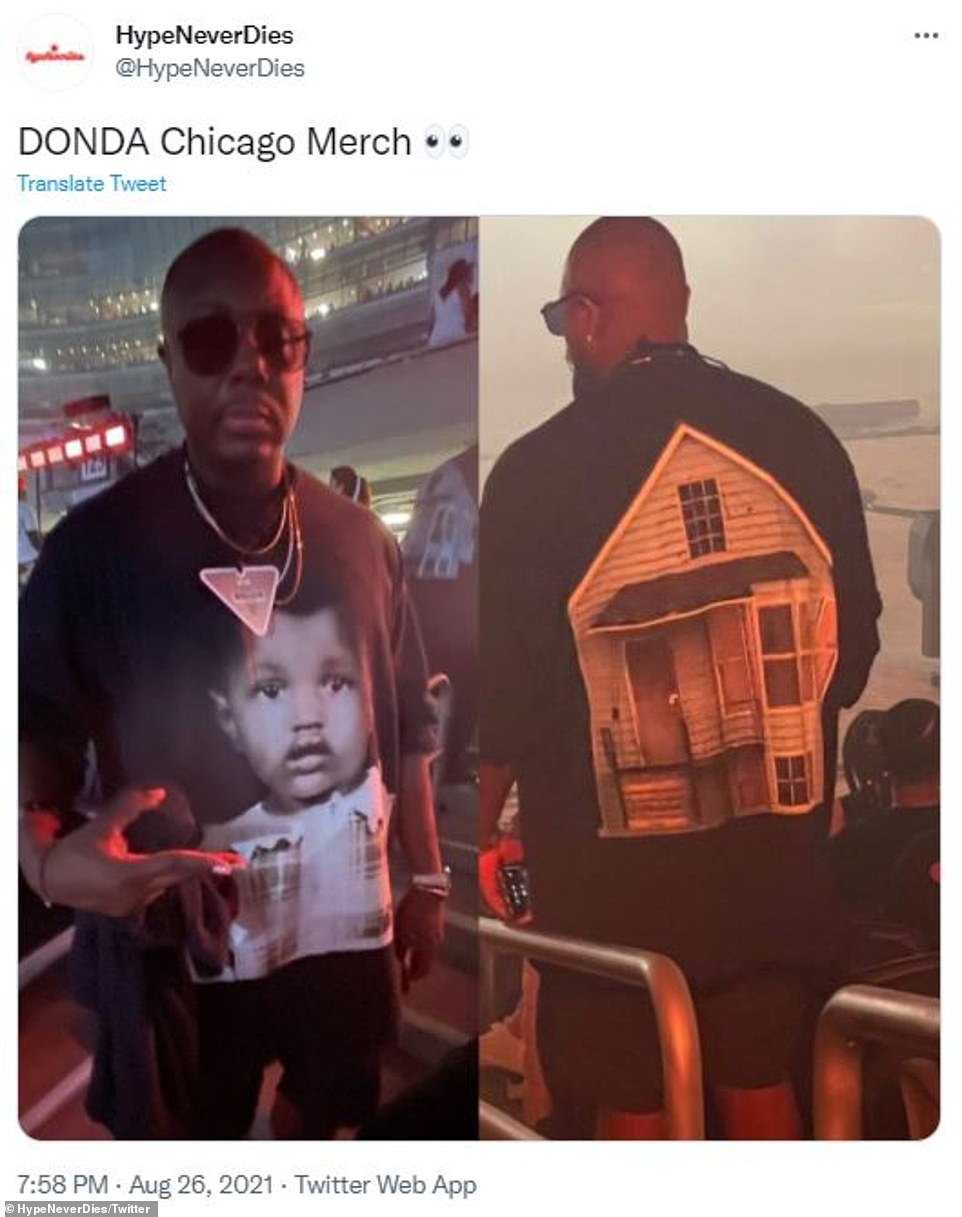 First look: Kanye West's Donda listening event at Soldier Field in Chicago on Thursday evening show an erected replica of his childhood home