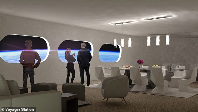 Future space stations, like the Gateway Foundation ring, could include restaurants, hotels and lounges like the one pictured