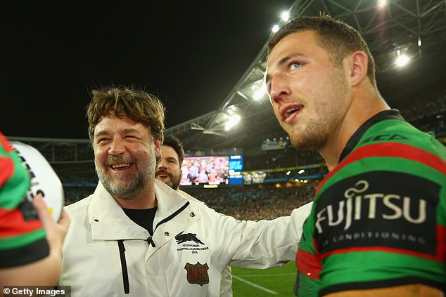 Words of wisdom: The 32-year-old told News of The Area on Saturday that he saw the opportunity to give back to the sport after talking with his long-time friend and Rabbitohs co-owner Russell Crowe. Pictured together in 2014