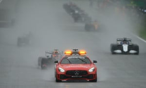 The FIA Safety Car leads the field on the formation lap