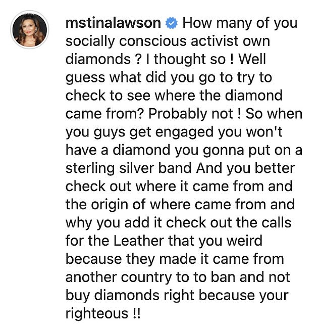 Defending her daughter: Tina asked if any of the 'activists' defending Beyonce had researched the origin of their own gems