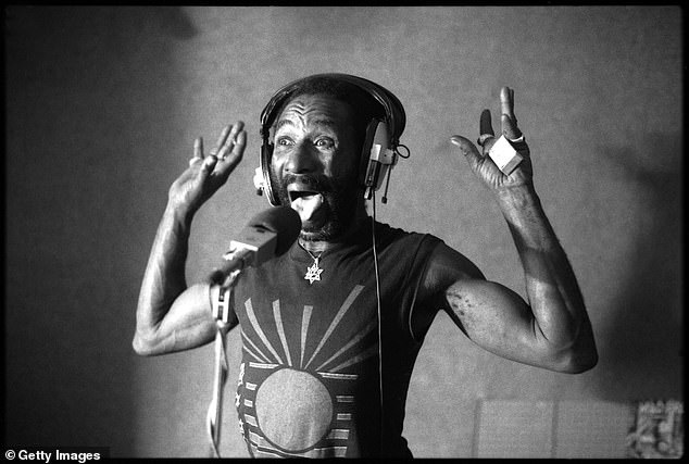 Through his band, The Upsetters, Perry released a slew of albums showcasing his distinct and innovative style for sampling sounds (seen in 1980)