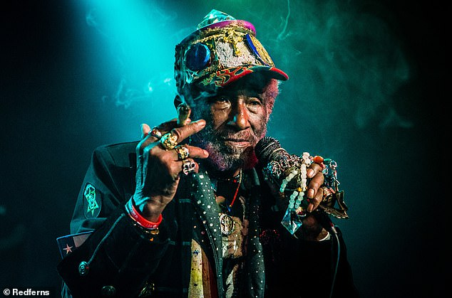 Jamaican Prime Minister Andrew Holness confirmed the death in a statement, saying: 'My deep condolences to the family, friends, and fans of legendary record producer and singer, Rainford Hugh Perry OD, affectionately known as 'Lee Scratch Perry' (pictured in 2018)