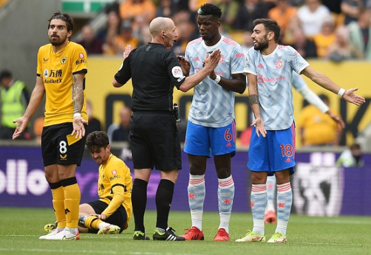 Ruben Neves was unhappy with Paul Pogba's tackle on him in the build-up to Mason Greenwood's goal