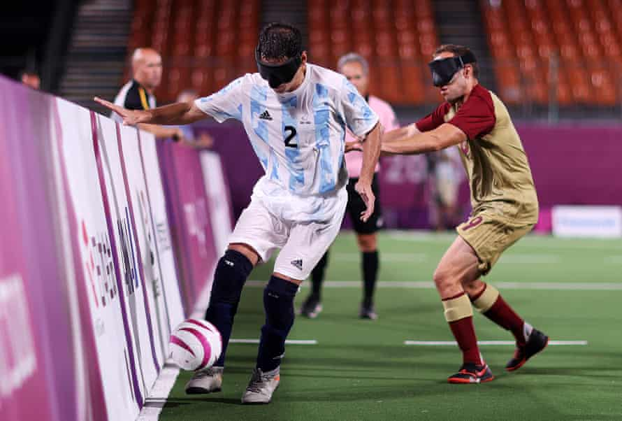 Angel Deldo Garcia of Team Argentina controls the ball during the preliminary round group B match.