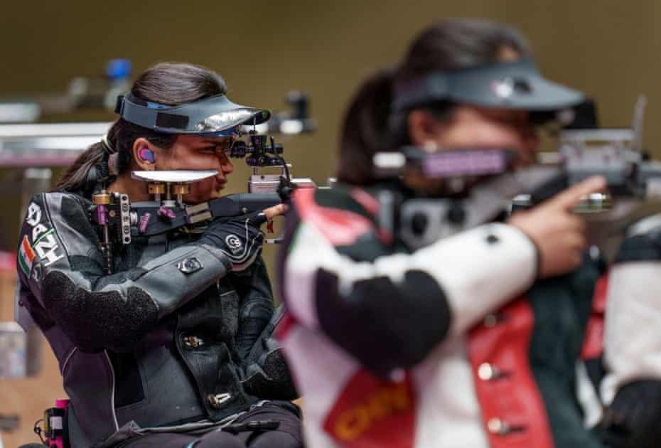 India's Avani Lekhara on the range in the women's 10m AR standing SH1 final.