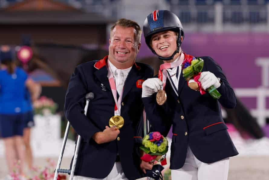 Lee Pearson and Georgia Wilson after their equestrian events had concluded in Tokyo.