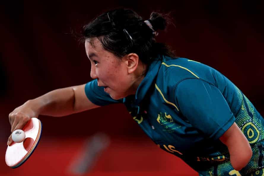 Qian Yang of Australia serves during her final.