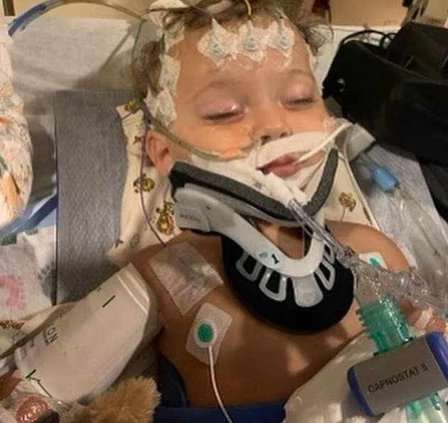 Heart-wrenching:The actress shared a photo of the baby boy lying in a hospital bed in a tangle of wires and tubes last week