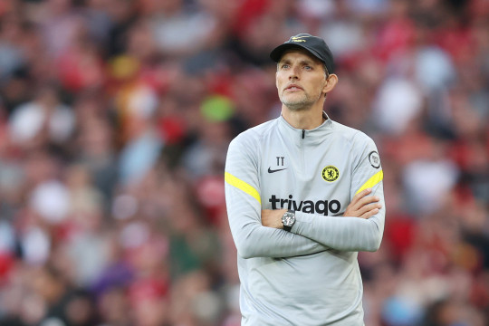 Thomas Tuchel looks on during Chelsea's clash with Liverpool