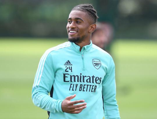 Reiss Nelson looks on in Arsenal training