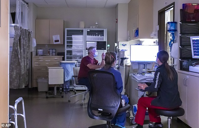 Scientists are still working to understand exactly how Covid causes heart inflammation. Pictured: The cardiovascular recovery room at a hospital in Grants Pass, Oregon, August 2021