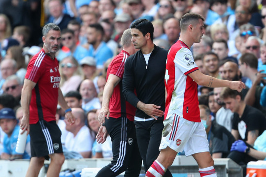 Granit Xhaka was sent off against Manchester City in Arsenal's 5-0 defeat