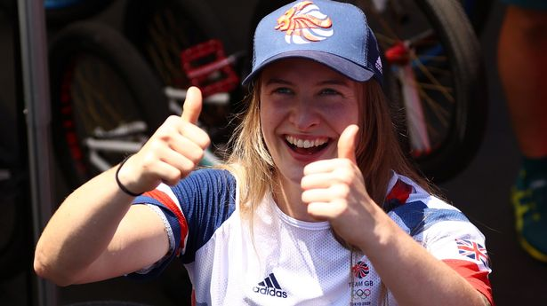 Charlotte Worthington celebrates her historic Olympic win in BMX