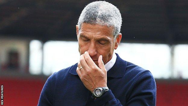 Chris Hughton following Nottingham Forest;'s defeat by Stoke