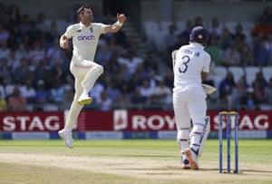 England's James Anderson (left) celebrates the dismissal of India's Ajinkya Rahane.