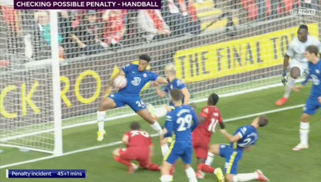 Reece James was given a red card for his handball in Chelsea's 1-1 draw with Liverpool