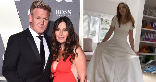 Tana Ramsay with husband chef Gordon Ramsay and in her wedding dress 25 years later