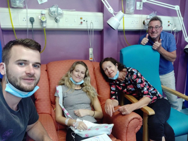 Kate in hospital with Ryan and her parents. (PA Real Life/Collect)