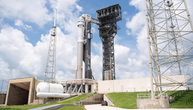 A United Launch Alliance Atlas V rocket with Boeing's CST-100 Starliner spacecraft on the launch pad at Space Launch Complex 41. (Credits: NASA/Joel Kowsky)