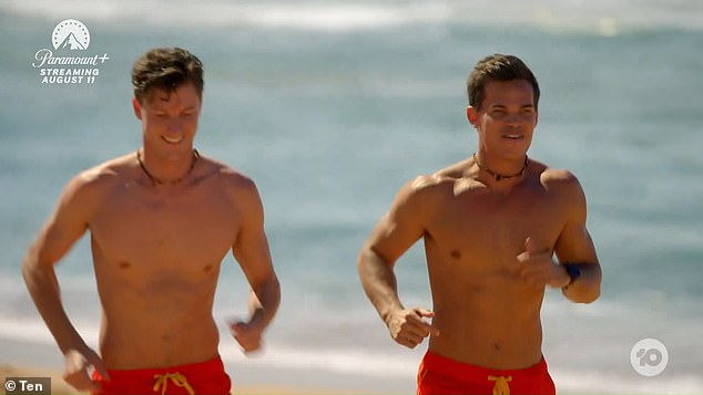 Surf's up!Jimmy Nicholson [right] recreated a 'very thirsty' Baywatch moment on Wednesday night's episode of The Bachelor and it drove fans wild. Pictured with mate Finn, left