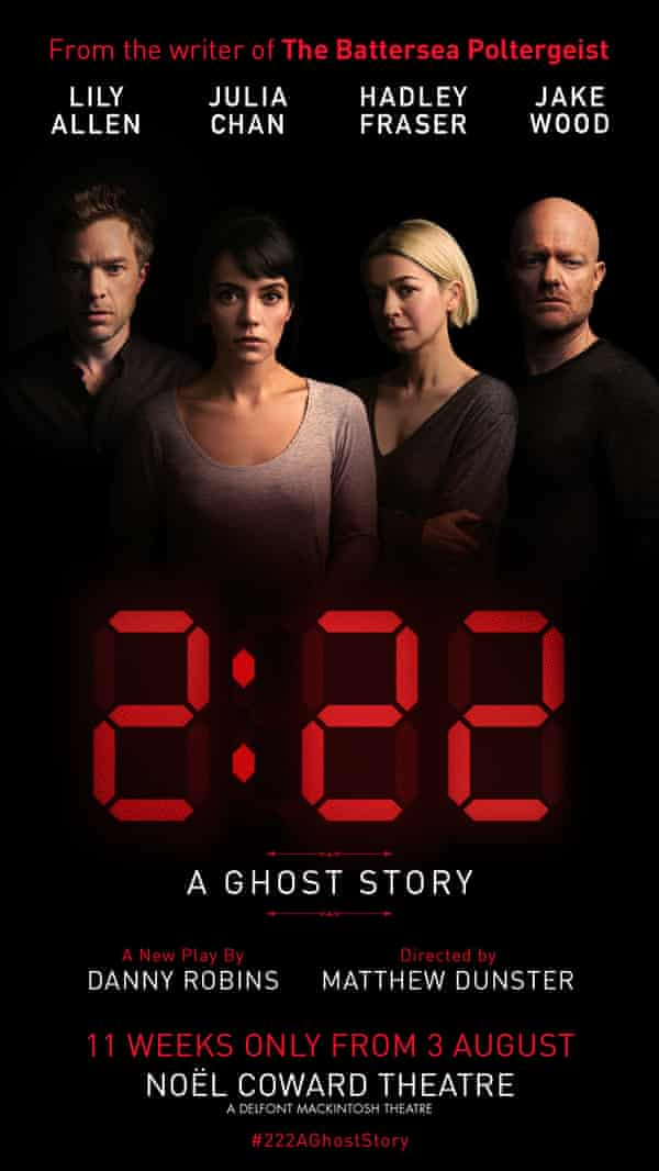 A playbill for 2:22 – A Ghost Story. Lily Allen will be joined on stage by EastEnders star Jake Wood, City Of Angels actor Hadley Fraser and Julia Chan of Silent House.
