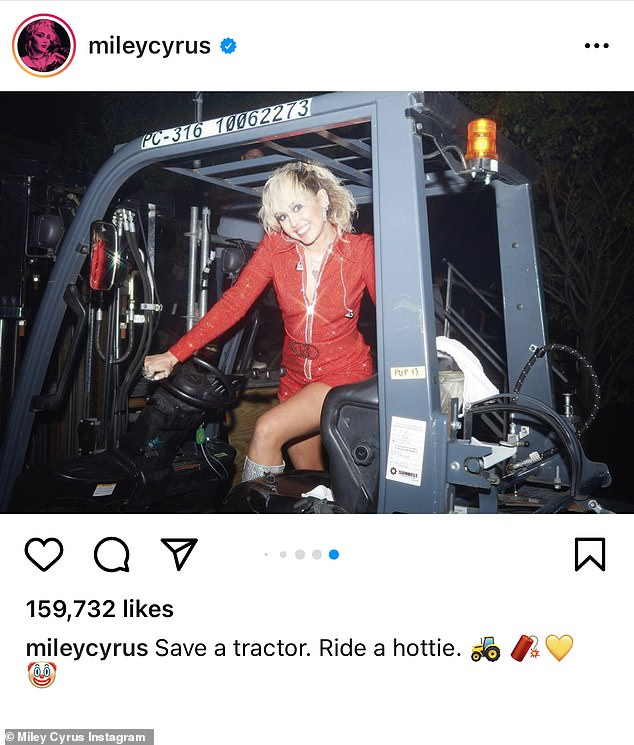 Hot to trot:The 28-year-old singer donned a custom red sparkly Gucci jumpsuit and posed on a tractor while playfully remarking 'Save a tractor. Ride a hottie'