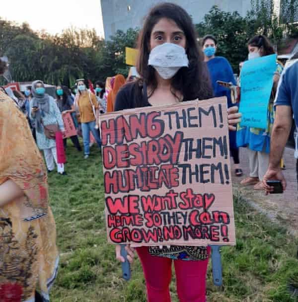Noor Mukadam at 'Aurat march' an event to mark International Women's Day in March 2021.