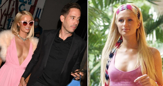 Paris Hilton with her fiance Carter Reum and inset, on reality TV show The Simple Life