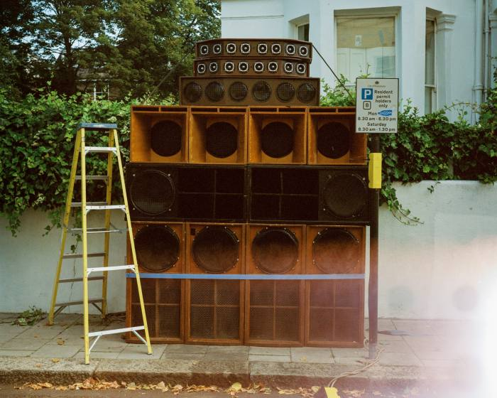 Speaker stack on the streets of Notting Hill