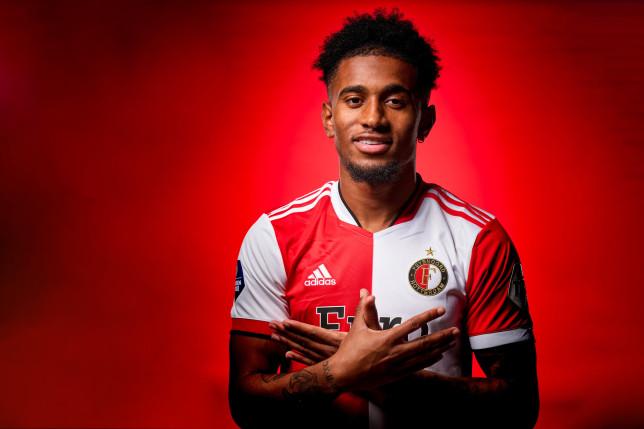 Arsenal starlet Reiss Nelson poses in Feyenoord kit