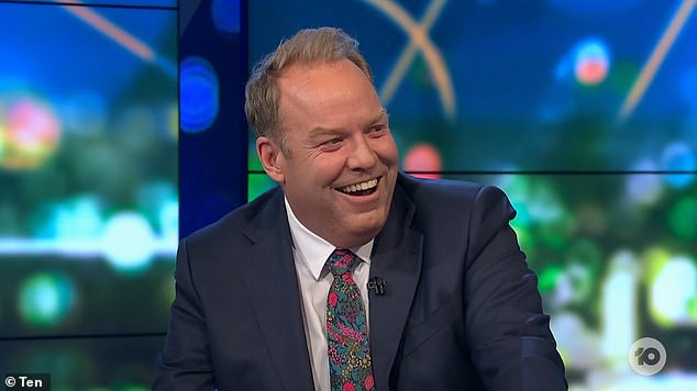 Laughs:Peter Helliar (pictured) was left giggling after an amusing segment on The Project on Monday.The comedian played a clip in which a mother's Zoom call is interrupted by her child entering the room with a penis shaped carrot