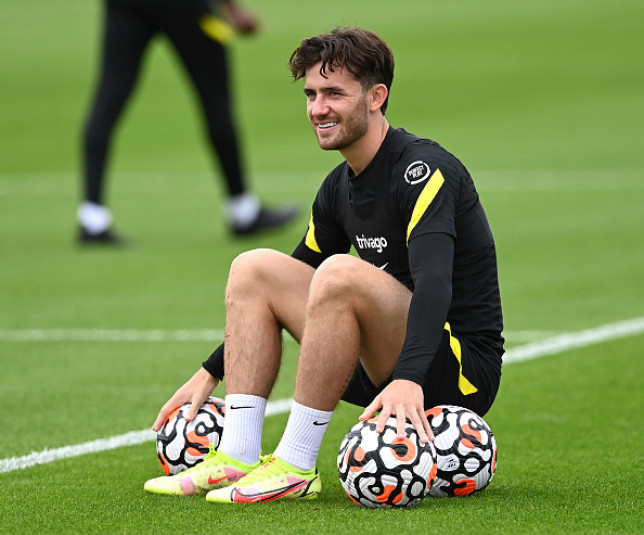 Ben Chilwell looks on in Chelsea training