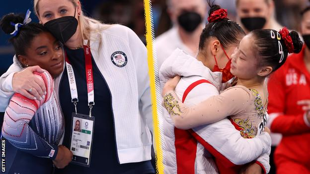 Simone Biles took bronze, while Guan Chenchen celebrated the gold