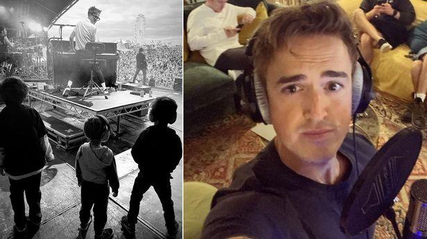 Tom Fletcher's kids watch him perform