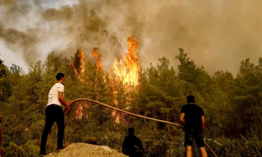 Wildfires are seen in the Antalya region of Turkey